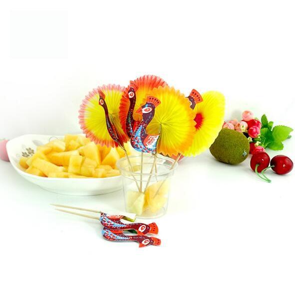 Nuevo 2000 unids color al azar palos de fruta tenedor buffet de comida de papel