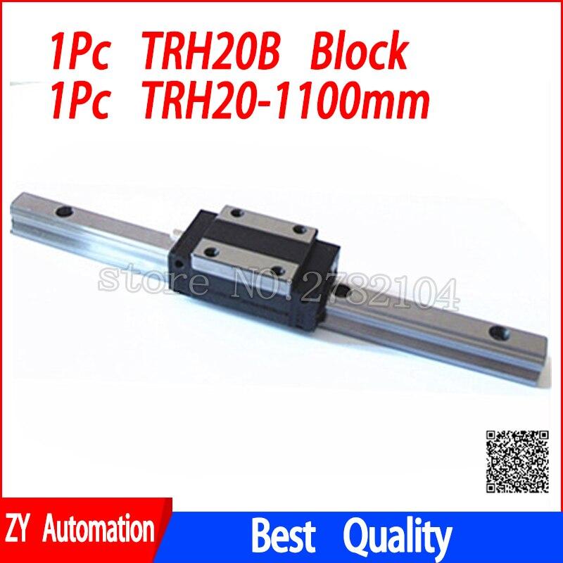 цена на New linear guide rail TRH20 1100mm long with 1pc linear block carriage TRH20B or TRH20A CNC parts