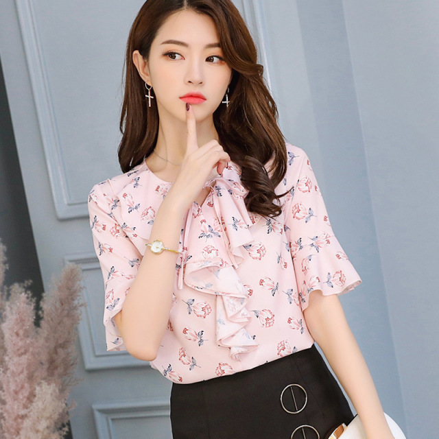 Women Ruffles Sleeve Casual Chiffon Blouse Summer 2019 Korean Fashion White Shirts Slim Streetwear Elegant Spring Ladies Tops