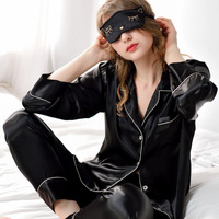 Pajamas Evening Wear Sexy Lingerie Women Underwear Silk Satin Long Sleeve Femme Embroidery V Neck Sleepwear