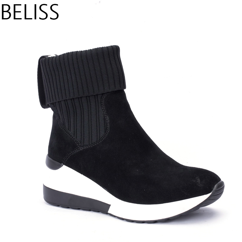 BELISS 2018 new design fashion ankle boots for women sneaker boots women wedges genuine leather pointed toe spring autumn B39