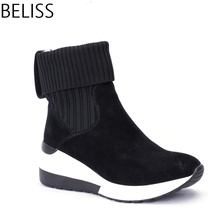 BELISS 2018 new design fashion ankle boots for women sneaker wedges genuine leather pointed toe spring autumn B39