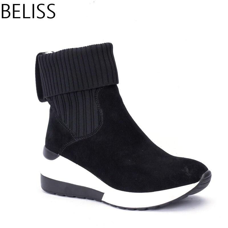 BELISS 2018 novo design de moda botas de tornozelo para as mulheres da sapatilha botas mulheres cunhas couro genuíno dedo apontado primavera outono B39