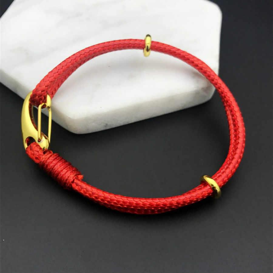 1 Pcs למכור עבודת יד אריגה לעטוף צמידי עור כבל מחרוזת צמיד מזל אדום בעבודת יד חבל עבור נשים גברים צמיד