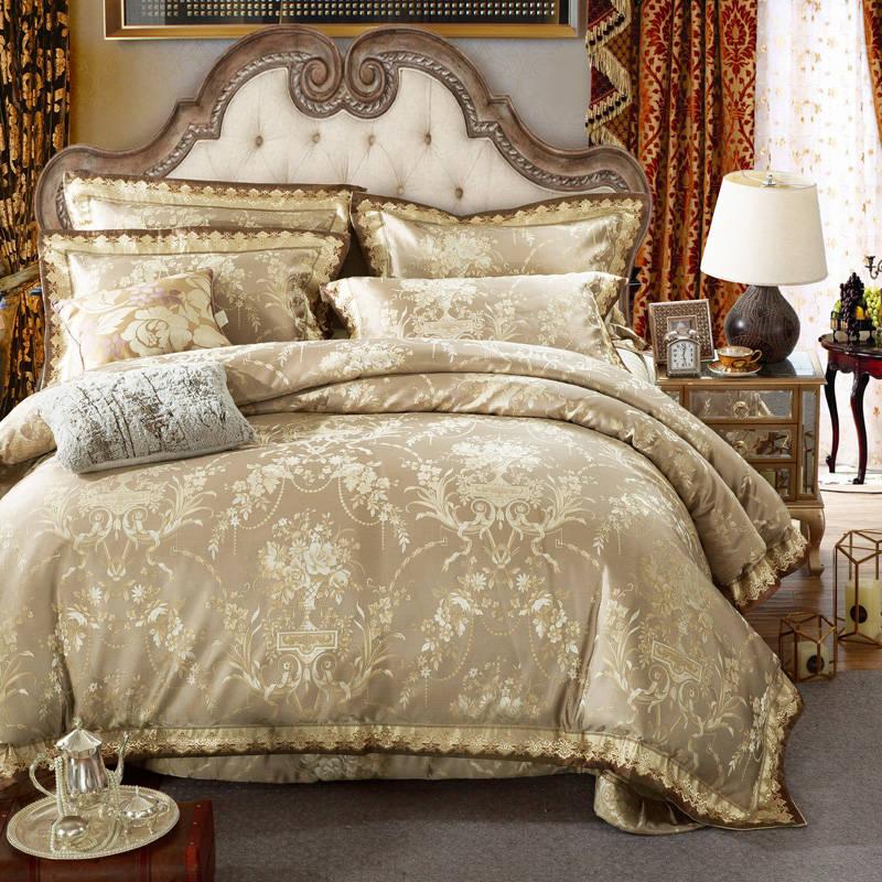 Chinês floral Dourado acolchoado Colchas King Size Jacquard Bordado Jogo De Cama de cetim de algodão tampa consolador 4/5 pc cama roupa de cama