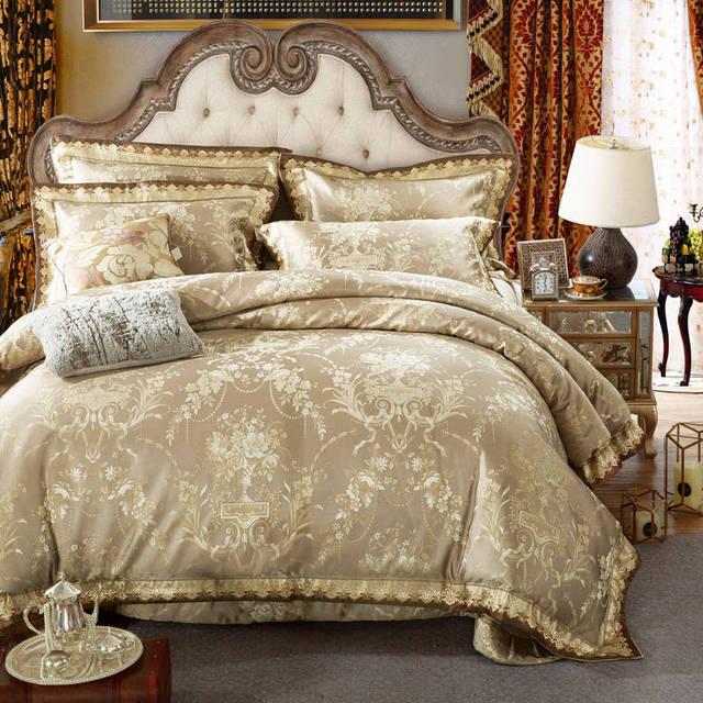 chinois floral d 39 or matelass couvre lits king size jacquard broderie coton ensemble de literie. Black Bedroom Furniture Sets. Home Design Ideas