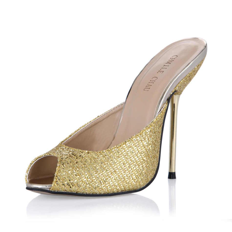 CHMILE チャウセクシーな結婚式の靴女性のピープトウ薄型ハイヒールの女性のサンダルプラスサイズ 10 Zapatos Mujer 3845-FA12