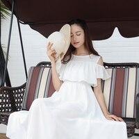2017 Summer Women Chiffon Beach Dress Slim Off The Shoulder High Waist Strapless Dress White Long