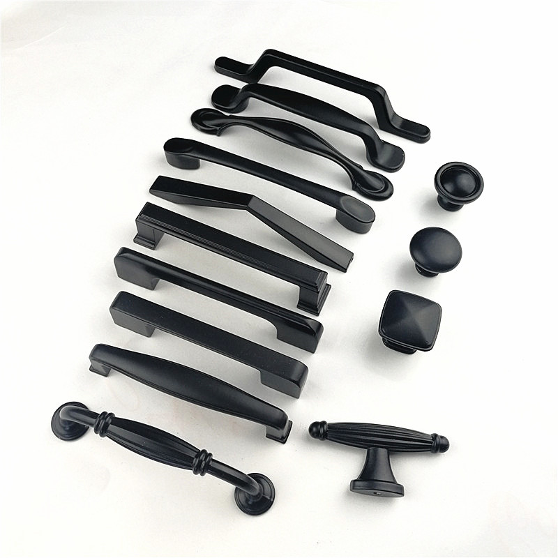 Zinc Alloy Black Cabinet Handles American style Kitchen Cupboard Door Pulls Drawer Knobs Fashion Furniture Handle Hardware