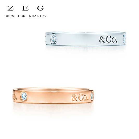 ZEG High Quality 100% Sterling Silver TIFF Original 1:1 Double T Have Zircon Rin