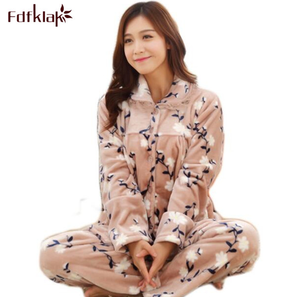 Fdfklak Warm Pajamas For Women Sleepwear Winter Flannel Print Family Pajama Set Woman Py ...