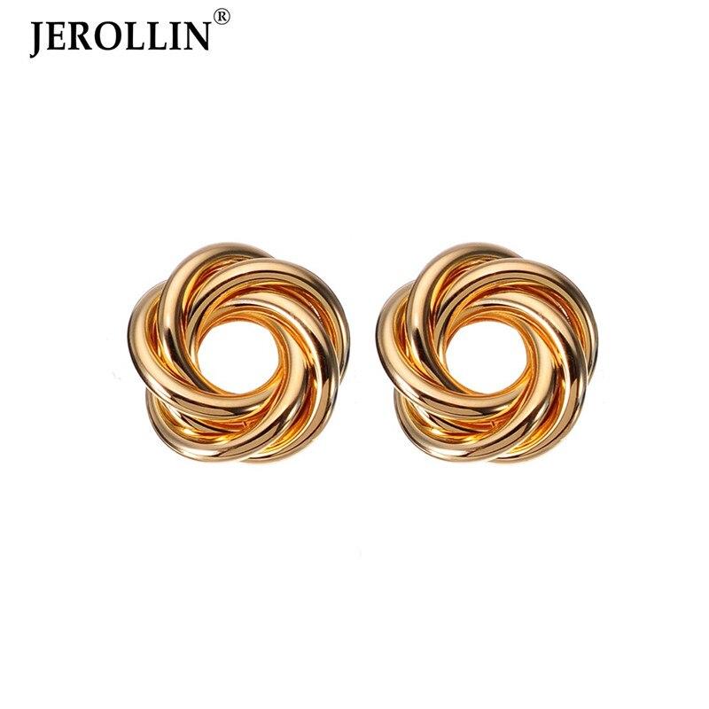 JEROLLIN Twisted Flower Stud Earrings High Quality Earrrings Women Lady Girl Friend Cute Wholesale