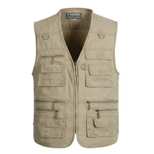 5XL 6XL 7XL 8XL New Male Casual Summer plus Size Cotton Sleeveless Vest With Pockets Men Multi Pocket Photograph Waistcoat