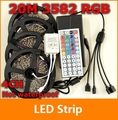 20M RGB led Strip 3528 SMD 60led/m Non Waterproof + 44key Remote + 12V 10A Transformer For Home Decoration Freeshipping