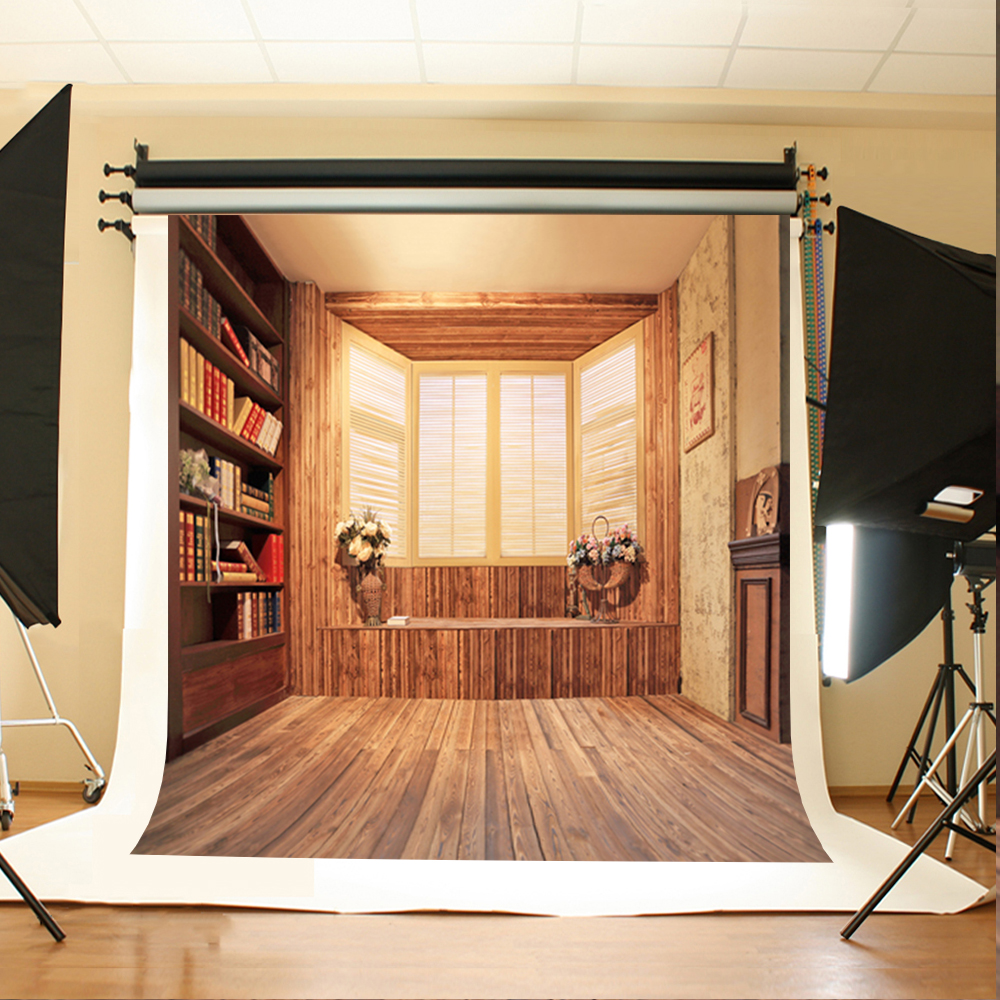 Wedding Photo Backdrops Flowers Bookcase Book Digital Printing Background Brown Striped Wood Floor Backgrounds For Studio