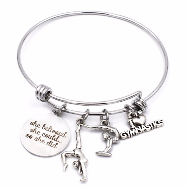 3e9bde1c8 BULK 10pcs Stainless Gymnastics Gymnast Charm Bracelet Inspirational  Adjustable Wire Bangle Birthday Jewlery Gift for Teen