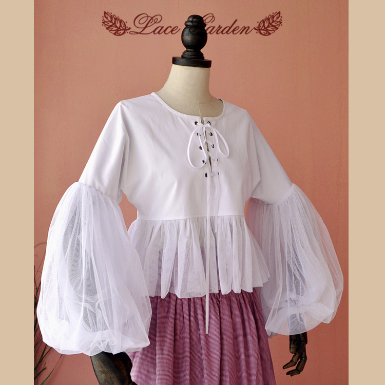 Vintage Victorian Style Women's White Blouse Long Lantern Sleeve Cotton Blouse with Sheer Ruffles sheer dotted blouse with smocked detail