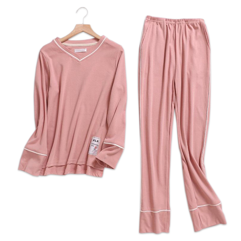 Pure color pink female   pajamas     sets   women 100% knit cotton long sleeve Korea pijamas sleepwear pyjamas feminino indoor wear