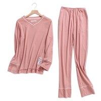 Pure color pink female pajamas sets women 100% knit cotton long sleeve Korea pijamas sleepwear pyjamas feminino indoor wear