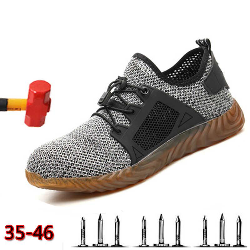 ชายกลางแจ้ง Breathable ตาข่ายน้ำหนักเบาสบายเหล็กป้องกันรองเท้าทำงานรองเท้าฤดูร้อนเจาะความปลอดภัยรองเท้า