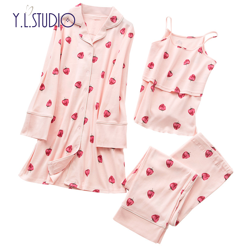 Maternity suits 3piece set clothes for woman maternity sleepwear long sleeve cotton pajama dress women breast feeding winter maternity pajama hot robes autumn winter pregnant woman unisex home coral fleece pajama comfortable solid pockets women bathrobe