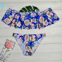 SESEASUN Bikini Set 2018 Doubledeck Flouncing Swimsuit Push Up Bathing Suit Sexy Women Swimwear Off Shoulder