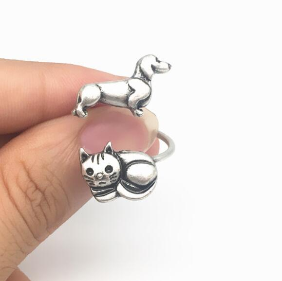 ancient antique silver Sausage dog cat ring brass metal knuckles Dachshund animals ring fashion jewelry for women puppy surprise