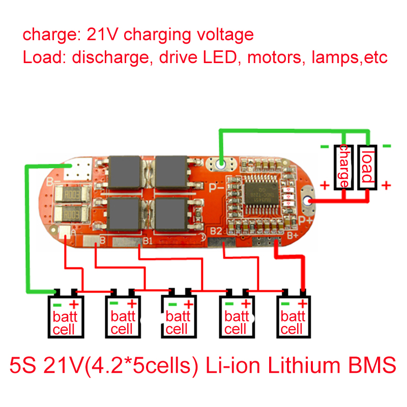 BMS 25A 3S 12.6V 4S 16.8V 5S 21V 18650 Li-ion Lithium Battery Protection Circuit Charging Board Module PCM Polymer Lipo Cell PCB
