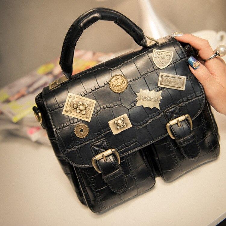 Стимпанк британский стиль женщины emblemed вестник мешки паровой панк-ретро сумки леди плечо работает портфель