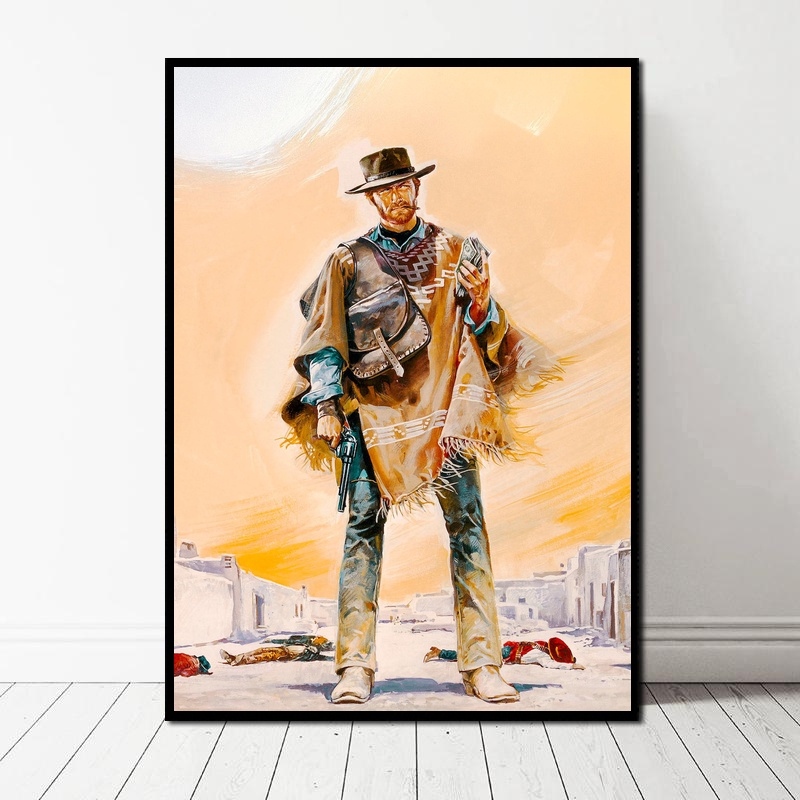 A Fistful of Dollars 1964 Clint Eastwood Cult Western Movie Art Canvas Art Print Wall Pictures for Living Room No Frame image