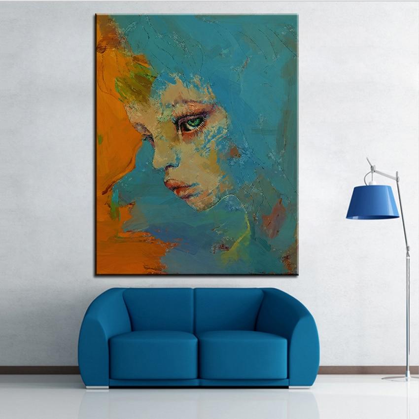 Grande Taille Impression Peinture Huile Bleu Visage Murale