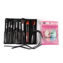 Hot hothot  10PCS Makeup Brush + 8PCS Powder Puff Sponge Fashion 1Sets Foundation Blusher COSMETIC TOOLS KITS  at24 Dropshipping