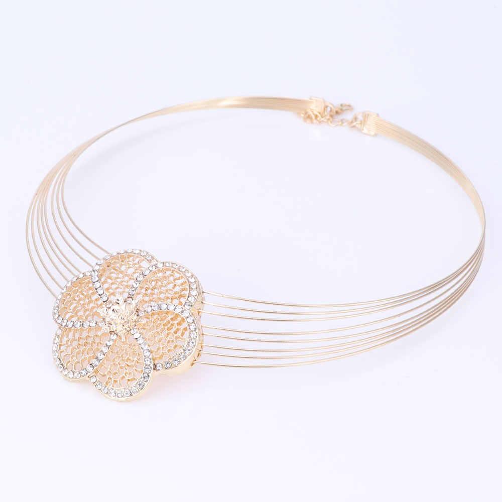 Dubai Gold-farbe Schmuck Sets Nigerianischen Hochzeits Afrikanische Perlen Kristall Halskette Ohrringe Armband Ring Blume Anhänger Schmuck-Set