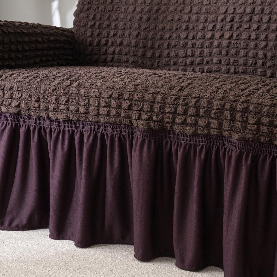 elegant skirt brown sofa cover