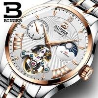 Vintage Roman Number Men Business Watches Mechanical Self Winding Moon Phase Watch Waterproof 316L Steel Wrist watch Tourbillon