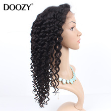 Doozy 7A deep wave glueless lace front wig for black women brazilian full lace human hair wigs