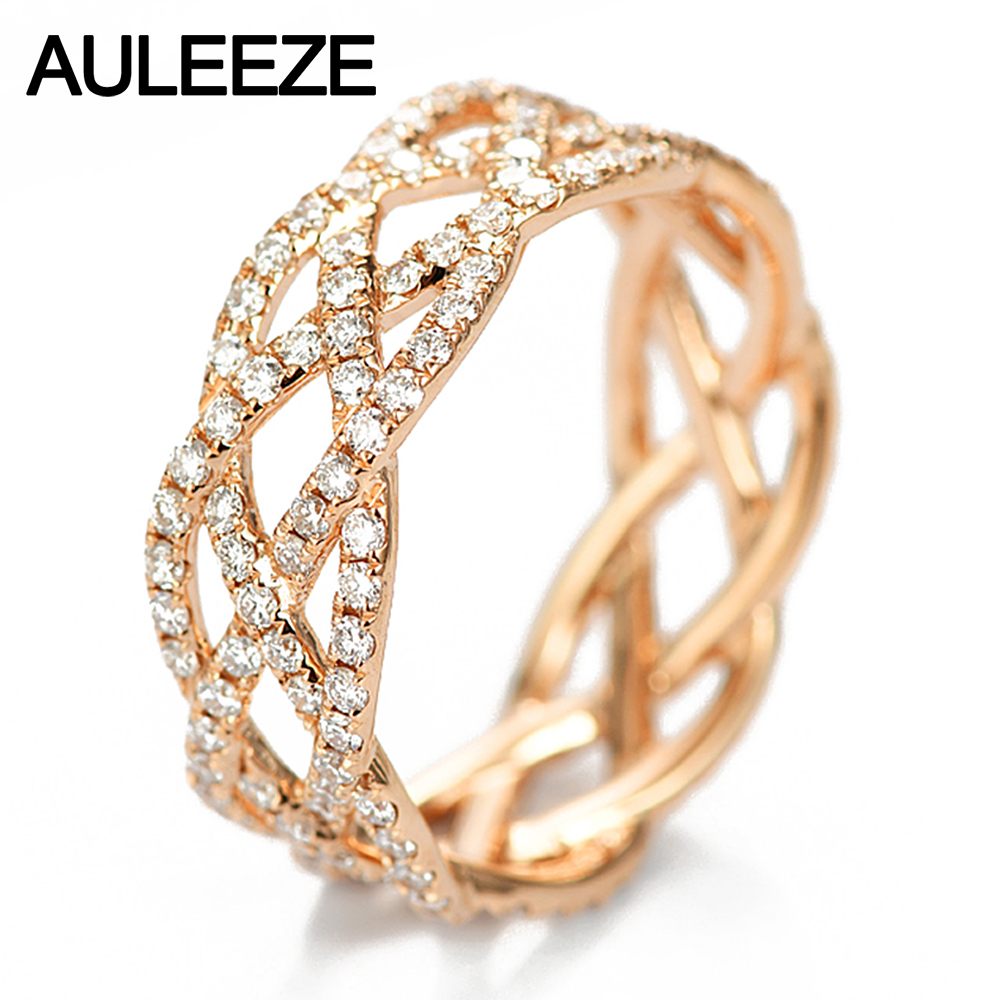 AULEEZE 100% Natural Diamond 0.96CTTW Full Eternity Bands 18K Rose Gold Diamond Wedding Women Ring Fine Jewelry
