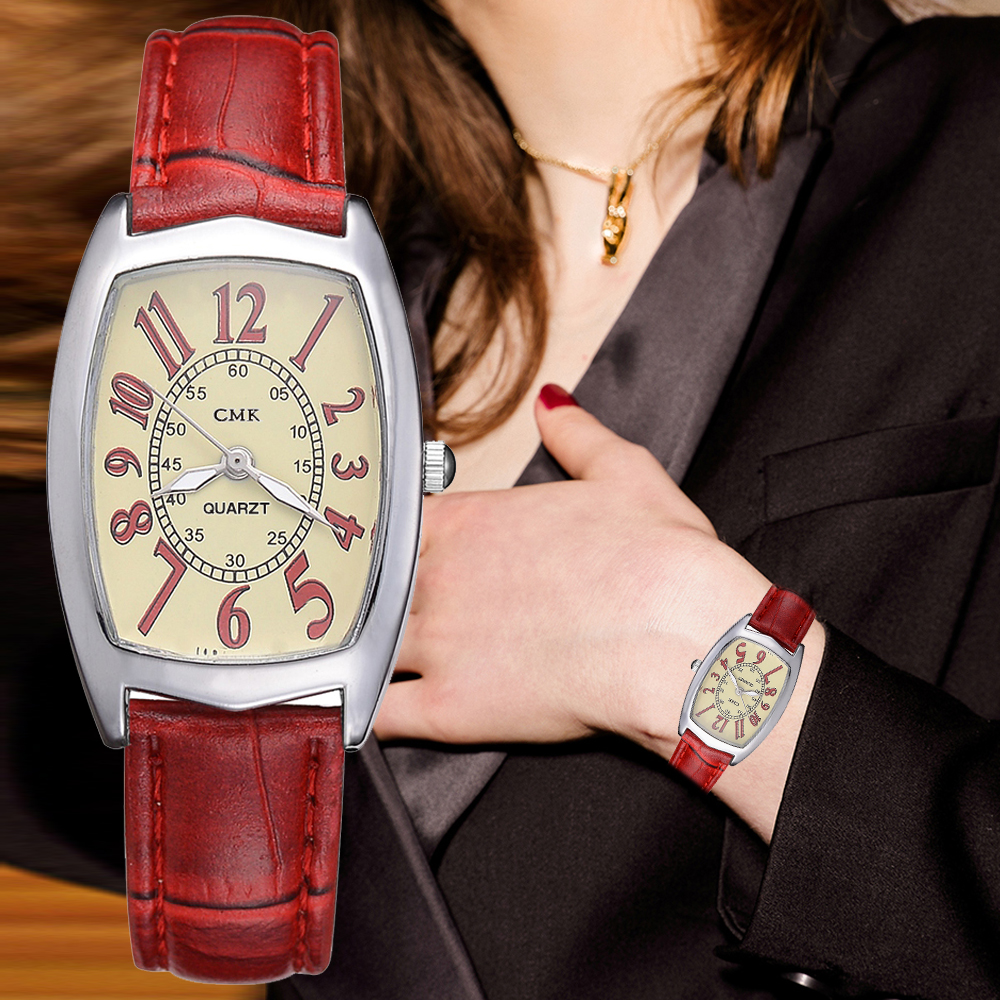 Leather Watches Women Business Band Men Quartz Watches Simple Red Black Creative Bracelet Dress Clock Relogio Feminino