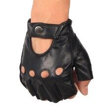 Men's Leather Fingerless Gloves for Driving