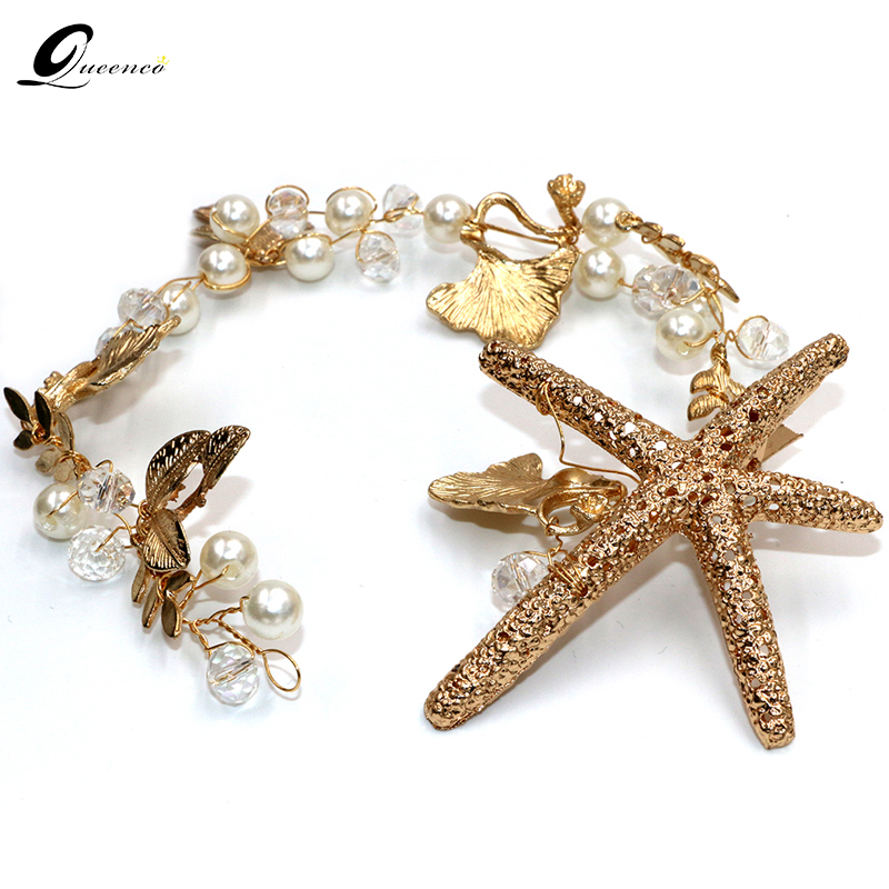 Նոր Tiara Հարսանյաց Մազերի պարագաներ Starfish Headband Hair Clip Bride Handmade Tiaras Soft Pearl Hair Jewelry Headpiece