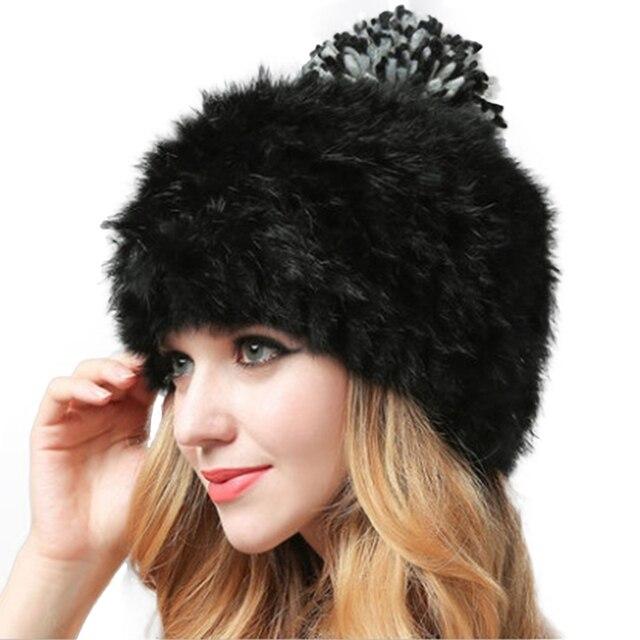 f86f4ba19 US $7.29 30% OFF|Winter Warm Rabbit Fur Hats Women Solid Hairy Fur Pom Poms  Woolen Ball Beanie Caps Bonnet Fashion Knitting Outdoor Ski Cap Gorro-in ...