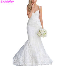 New Vintage Mermaid Lace Wedding Dresses 2016 Custom made Sexy Spaghetti Strapless vestido de noiva White China Made Bridal Gown