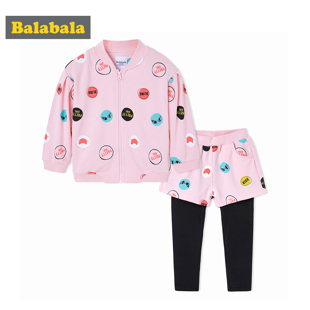 Balabala 2018 spring Children's clothing sets cotton toddler fashion Long Sleeve printed suit Girl Children enfant sweet Clothes fashion brand autumn children girl clothes toddler girl clothing sets cute cat long sleeve tshirt and overalls kid girl clothes