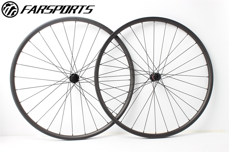 Asymmetry MTB carbon wheelsets 30mm wide 22mm deep, boost compatible durable wheelsets 28H/28H, central lock disc wheelsets 29er