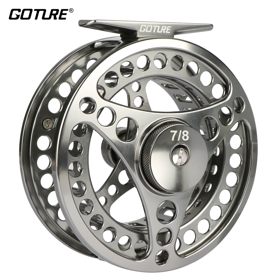 Goture CNC Machine Klipp Fly Fishing Reel 3/4 5/6 7/8 9/10 Large Arbor Aluminum Disc Dra Fly Fly Reel 3BB 1: 1 Fishing Tackle