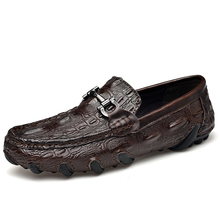 Men crocodle-like leather loafer fashion casual shoes moisture-wicking and antimicrobial comfort with Octopus-like Outsole