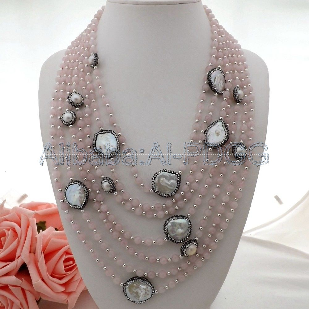 7Sthands White Pearl Rose Crystal Quartz CZ Necklace charming rose quartz pearl necklace 44cm length