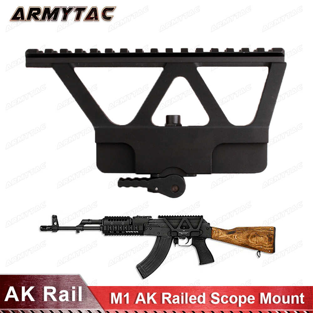 ArmyTac Quick Detach AK ปืน Rail ขอบเขต Mount Base Picatinny ด้านข้าง Rail สำหรับ AK 47 AK 74 สีดำ Tan จัดส่งฟรี