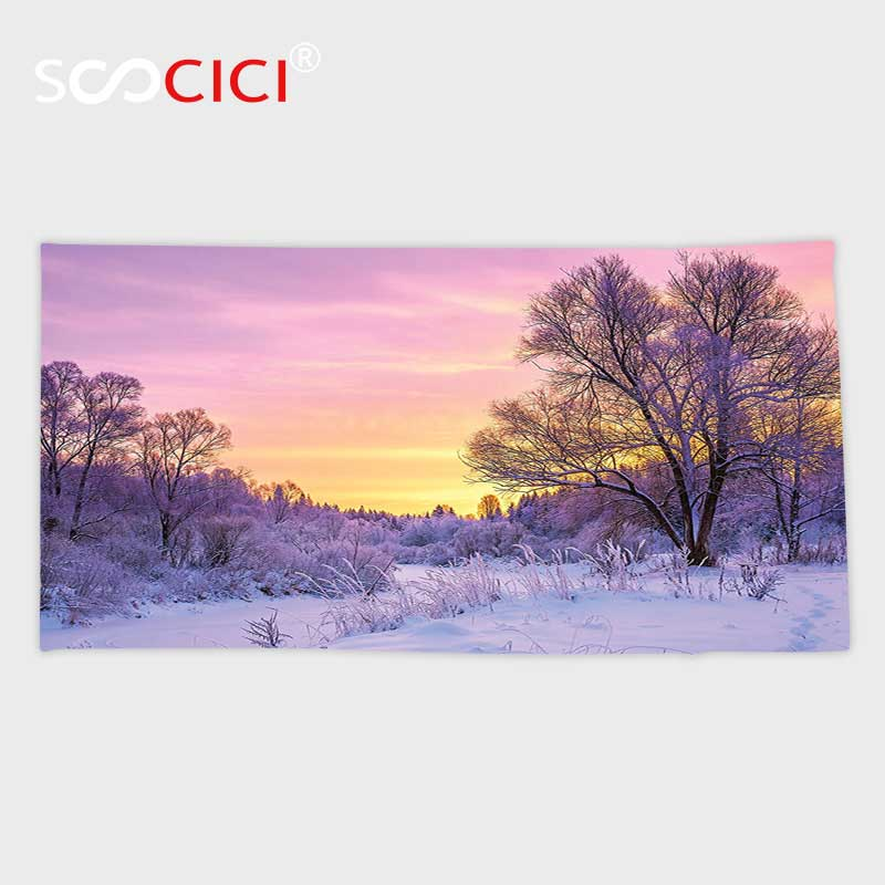 Custom Microfiber Ultra Soft Bath/hand Towel,Farm House Decor Winter Landscape with Sunset and Frozen Trees Ice Weather Blizzard
