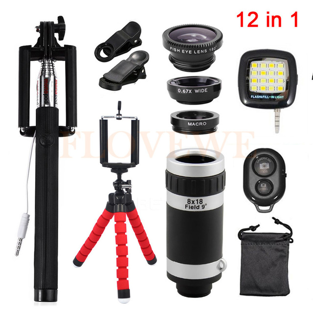 12in1 Lens Kit 8x Zoom Telephoto Lentes Tripod Fish eye Wide Angle Macro Lenses For iPhone Samsung HTC Xiaomi Huawei Sony Meizu